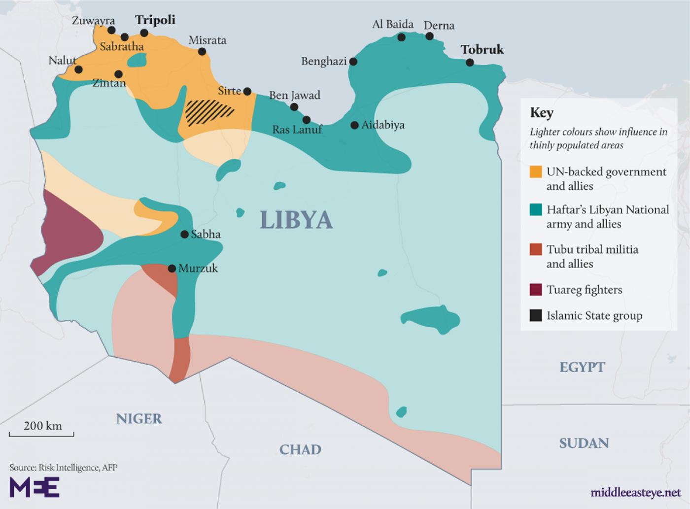 Znalezione obrazy dla zapytania: libya war map